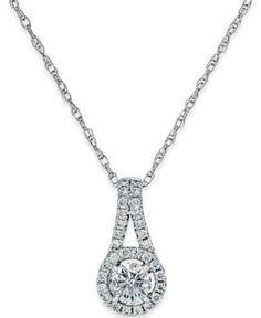 Fine Jewelry Womens 1/2 CT. T.W. White Diamond 14K Gold Pendant Necklace U4lEAwfd