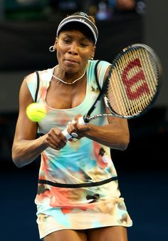 Venus Williams of the United States plays a backhand in her third round match against Maria Sharapova of Russia during day five of the 2013 Australian Open at Melbourne Park on January 2013 in Melbourne, Australia. Serena Williams, West Palm Beach, Australian Open, Opening Day, Maria Sharapova, Sports Photos, Winter Olympics, Melbourne Australia, Tennis Players