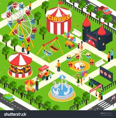 Amusement park isometric with 3d people figures and oudoors objects vector illustration - stock vector