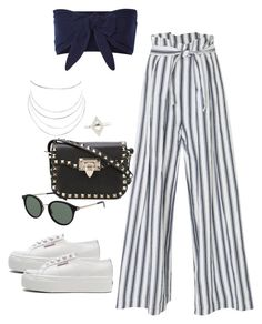 """Untitled #2283"" by andreagm ❤ liked on Polyvore featuring Three Graces, Solid & Striped, Superga, Humble Chic, Valentino and Yves Saint Laurent"