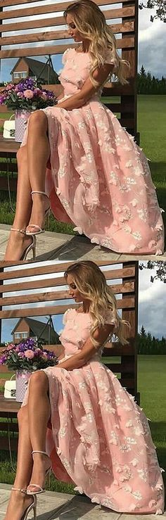 Pretty A-Line Bateau Light Pink Long Prom/Evening Dress#PromDress #partydress #eveningdresses