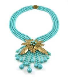Early Miriam Haskell Book Piece Aqua Glass Necklace With Gilt Leaves Frank Hess
