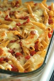 Tomato and Mozzarella Pasta al Forno. Ive made this a few times. It needs more sauce. Either do 1/2 lb pasta and one can of tomato or the full pound and two cans of tomato. Also, can add some heavy cream and butter to make it creamy or some sour cream. I add some diced chicken and I use 2 cups of cheese for 1 lb of pasta. Easy dinner.