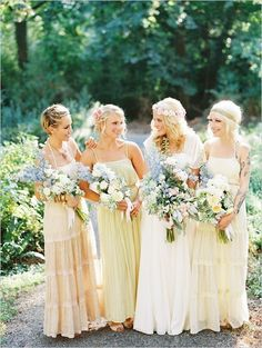 Like the idea of off-white bridesmaid dresses, but the flowers need to be brightly colored.