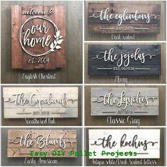 wood signs Pallet Sign / Last Name Sign / Custom Wood Sign / Established Sign / Personalized Wedding gift / Wedding Sign / Sign / Family Name Sign Diy Pallet Projects, Wood Projects, Woodworking Projects, Pallet Ideas, Woodworking Shop, Japanese Woodworking, Router Woodworking, Wood Ideas, Last Name Signs