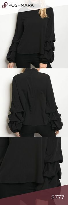 CLASSIC BLACK BLOUSE WITH A TWIST! BRAND NEW  Boutique item   AS the holiday parties & special occassions approach get your Holiday Cheer on in style with this chic black blouse, featuring choker neckline, and stunning sleeve details! hidden zipper on back   100% POLYESTER  Modeled in a size small *holiday christmas thanksgiving date night anniversary special event party vegas parties ruffles flared cuffs . Tops Blouses
