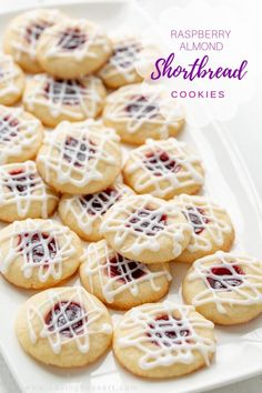 Raspberry Almond Shortbread Thumbprint Cookies - a tender shortbread cookie packed with raspberry jam and topped with a simple almond flavored icing. Not just for the holidays, these are delicious cookies and a family favorite! Raspberry Thumbprint Cookies, Almond Shortbread Cookies, Raspberry Cookies, Shortbread Biscuits, Raspberry Muffins, Holiday Baking, Christmas Baking, Christmas Cookies, Cookie Recipes