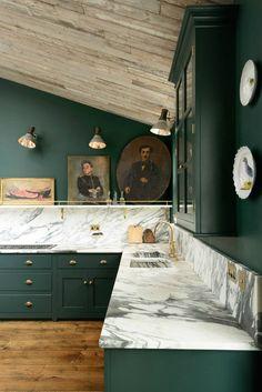 homestilo | dark green interiors | kitchen | marbel counters | traditional art work | wood slats on ceiling | brass hardware | interior design | interior decor | deVOL PeckhamRye kitchen design