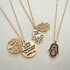 """❤️ Love these  Shop www.imsmistyle.com  #lifetree #hamsa #inspirational #necklace"""
