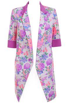 Color Block Purple Floral Blazer #Romwe
