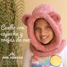 Cuello con capucha y orejas de oso tejida en dos agujas o palitos para bebés, niños y adultos! English subtitles video: knitted  bear hooded cowl!