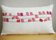 Sukan / Pinks Birds White Linen Pillow Cover, Lumbar pillow,. $78.00, via Etsy.
