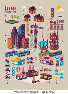isometric city info graphic,city background with isolated buildings - stock vector