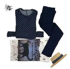 black cat records + lunares y leggin en azul