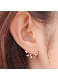 Leaf Shape Design Rhinestone Decorated Gold Earrings on sale only US$7.12 now, buy cheap Leaf Shape Design Rhinestone Decorated Gold Earrings at liligal.com