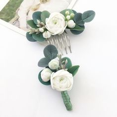 eucalyptus hair comb and eucalyptus boutonniere grenery wedding ivory flower hair piec.of eucalyptus hair comb and eucalyptus boutonniere grenery wedding ivory flower hair piec. Wedding Flower Arrangements, Flower Centerpieces, Wedding Bouquets, Wedding Boutonniere, Centerpiece Ideas, Boutonnieres, Flower Hair Pieces, Flowers In Hair, Fresh Flowers