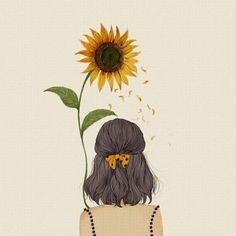 to drawing sunflowers Makyaj Cartoon Kunst, Anime Kunst, Cartoon Art, Girly Drawings, Easy Drawings, Art And Illustration, Flower Art Drawing, Sunflower Drawing, Drawing Artist