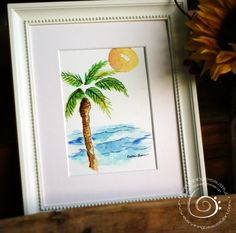 Palm Sunset Watercolor Print