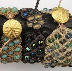 Beaded Bohemian Cuff, Peacock Blue Bracelet, Boho Style, Hippie Jewelry, dark brown leather,  Crochet jewelry. $34,00, via Etsy.