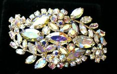 Teal Green, Yellow, Rhinestone Jewelry, Aurora Borealis, Vintage Signs, Brooches, Rhinestones, Vintage Jewelry, Bling