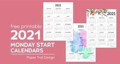 Monthly Planner Printable, School Calendar, Printable Calendar Template, Free Printables, Monthly Calendars, Block Calendar, Print Calendar, Kids Calendar, 2021 Calendar