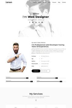Larson - Minimal Personal/Portfolio Template Landing Page Template - Larson – Minimal Personal/Portfolio Landing Page Template - Site Cv, Cv Website, Website Ideas, Site Web Design, Website Design Layout, Design Layouts, Website Designs, Web Layout, Design Design