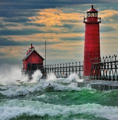 Red Lighthouses, inner and outer, Grand Haven Pier, MI