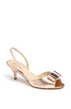 7d0fe395516d Find this Pin and more on By the Foot. Kate Spade New York  emelia  Sandal  Gold Wedding Shoes Kitten Heel