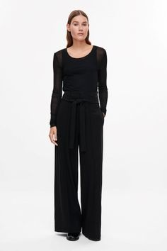COS image 1 of Silk jersey top in Black