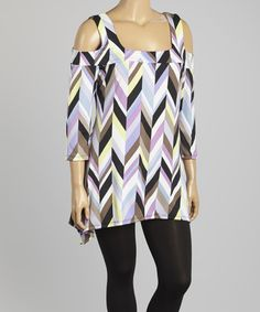 Another great find on #zulily! Lilac & Black Abstract Cutout Tunic - Plus #zulilyfinds