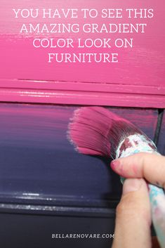 Don't you just love a gradient color effect? I want to show you how to create this effect to give your furniture even more character! Funky Painted Furniture, Chalk Paint Furniture, Retro Furniture, Refurbished Furniture, Repurposed Furniture, Shabby Chic Furniture, Furniture Projects, Furniture Makeover, Diy Furniture