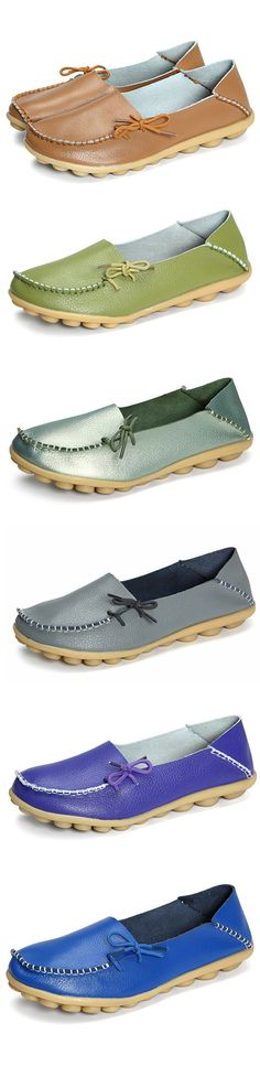 US$14.65 Big Size Pure Color Soft Leather Lace Up Loafers_Women Soft Loafers_Shoes Flats For Woman