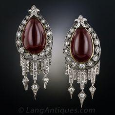 Antique Garnet and Diamond Drop Earrings - 20-1-2048 - Lang Antiques