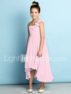 A-Line One Shoulder Asymmetrical Chiffon Junior Bridesmaid Dress with Flower Criss Cross by LAN TING BRIDE® 2018 - $92.9