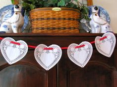 simple paper heart doily garland