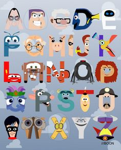 """P is for Pixar"" Pixar-themed alphabet by Mike Boon. A is for Anton Ego (""Ratatouille""), B is for Buzz Lightyear (""Toy Story""), C is for Carl Fredrickson (""Up"").  SQUEAL im in love!"