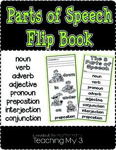 8 Parts of Speech Flip Book - Teaching My 3 Teaching Grammar, Teaching Language Arts, Grammar Lessons, Speech And Language, Teaching English, Third Grade Writing, 8th Grade Ela, Parts Of Speech, Word Study