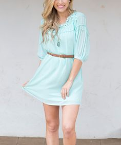 Look at this Pinkblush Aqua Crochet-Accent Belted Dress on #zulily today!