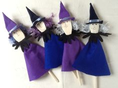 Wooden spoon witches. Treats for Halloween