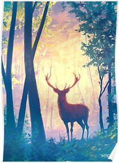 'The deer' Poster by Sylvain Sarrailh Art Painting, Art Drawings, Animation Art, Painting, Deer Poster, Art, Canvas Painting, Beautiful Art, Deer Art