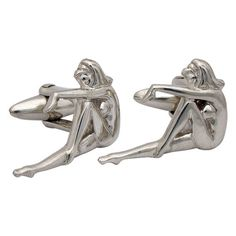 Etsy の Retro Pin-Up Girl Cufflinks Sterling Silver by dedalo