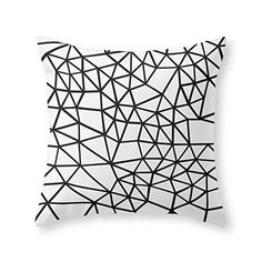 Society6 Segment Dense Black On White Throw Pillow Indoor…