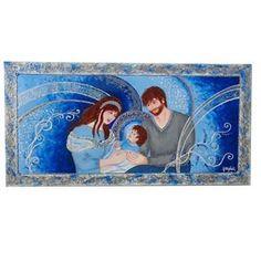 """ULTIMA CREAZIONE. http://www.gartem.it/Sacra-Famiglia-in-Blu-Quadri-Per-Camer… Quadri per camera da letto.""""Sacra famiglia moderna in blu"""" Tecnica mista su tela, con applicazione di graniglie, cristalli di vetro, sabbie, glitter e perline. Colori tonali del blu, argento e bianco per le decorazioni. La Sacra famiglia è realizzata in tonalità moderne del blu e argento, per un arredamento particolarmente di tendenza che però conserva il figurativo in camera da letto."""
