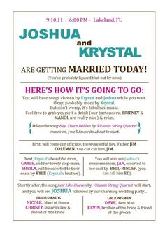wedding program idea! I think it's funny that is not to far off froma name with a Joshua lol