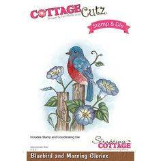 Cottage Cutz Stamp and Die Set  Bluebird and Morning Glories