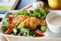 """Dinner tonight came from Dr. Hyman's book """"The 10 Day Detox Diet."""" I never eat chicken but LOVE this paleo and gluten free chicken nugget recipe and still make it since I ended my sugar detox almost a year ago. Almond flax crusted chi..."""