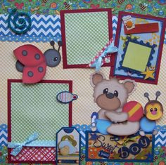 Sweet Baby Boy 2 Premade Scrapbook Pages Layout 12x12 for Album | eBay