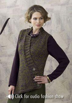 Fargo Asymmetrical Vest. US #10. Approx. 9 balls of Caron Country yarn (185 yds/ball, wt 4)