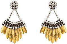 Deepa Gurnani Layered Feather Drop Earring   Free Shipping