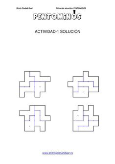 PENTOMINOS cuatro  PIEZAS NIVEL INICIAL en imagenes_02 Busy Book, Printables, Teaching, Math, Books, Pattern, Cards, Montessori, Activities For Kids
